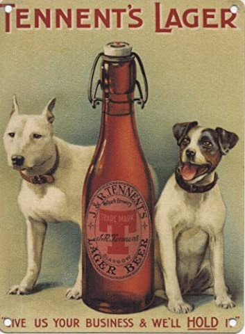 Tennent's Lager - Two Dogs plaque metal 200mm X 150mm
