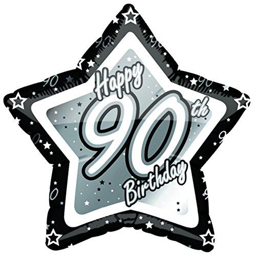 90th Birthday Schwarz/Silber Stern Ballon (46cm) (Schwarz/Silber) ()