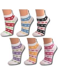 12 | 24 | 36 oder 48 Paar Damen Freizeit Sneakers weiß mit farbigen Akzenten Herzenmotiv - Qualität von Lavazio®