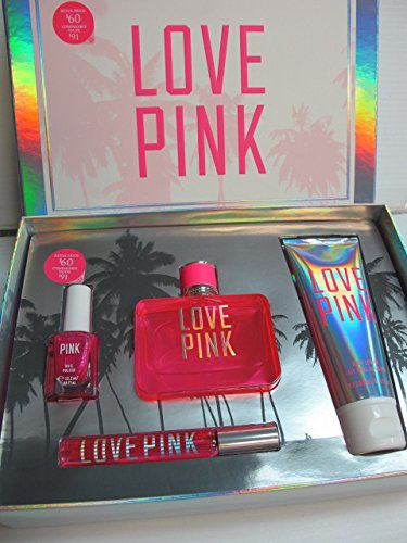 Victoria's Secret Love Pink 4 Piece Eau De Parfum Gift Set, Lotion, Nail Polish & Edp Rollerball by Victoria's Secret Love Pink