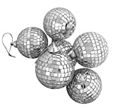 #5: Theme My Party Silver Splendor Mirrored Glass Disco Ball Christmas Ornaments (Pack of 24)