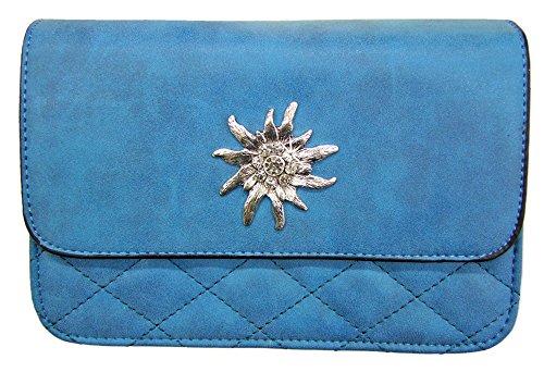 Trachtentasche Gesteppt mit Edelweiß Applikation Blau