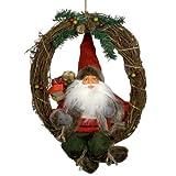 Weihnachtsmann KLAUS 30 cm Türkranz Weihnachten sitzend Kranz Deko rot NEU