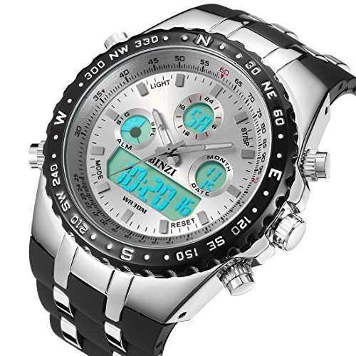 BINZI-Militr-Herren-Armbanduhr-Wasserdichte-Sport-Uhren-Digitaluhr-Luxus-LED-Licht-Dual-Display-mit-schwarzem-Silikonband