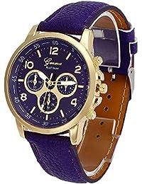 Bestow Reloj de Cuarzo Geneva Unisex Casual Geneva Faux Leather Quartz Reloj de Pulsera Anal¨
