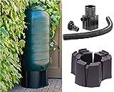 Platzsparend 250L Liter Regentonne Slimline Kit mit Ständer, umlenkventil, Deckel und Wasserhahn, Regen Kollektor-,