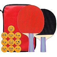 Xianw Juego De Ping Pong De Tenis De Mesa - Paquete De 2 Paletas/Raquetas Premium Y 10 Pelotas De Tenis De Mesa - Caucho Esponja Suave,A