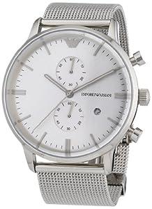Emporio Armani AR0390 - Reloj cronógrafo de cuarzo para hombre, correa de acero inoxidable color plateado de Emporio Armani