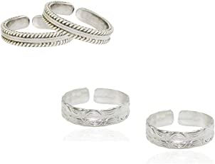 Frabjous Contemperory Silver Metal Adjustable Toe Ring for Women(Pair of 2)