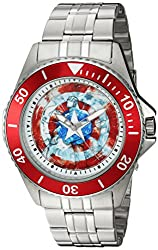 Marvel Mens Captain America Quartz Stainless Steel Casual Watch, Color:Silver-Toned (Model: WMA000017)