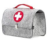 Stil-Macher Arztkoffer aus Filz VEGAN   Doktortasche aus weichem Filzstoff   23x32x15 cm (HxBxT)   Zum aufbewahren von Spielzeug und Medikamenten (Arztkoffer)
