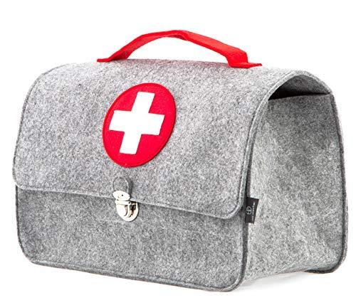 Stil-Macher Arztkoffer aus Filz VEGAN   Doktortasche aus weichem Filzstoff   25x33x16 cm (HxBxT)   Zum aufbewahren von Spielzeug und Medikamenten - Große Arzt-tasche