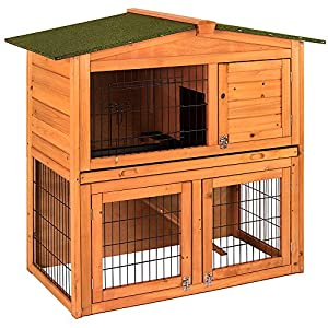 Home Discount Wooden Pet Rabbit 2 Tier Hutch, Double Bunny Guinea Pig Animal House Home Run Cage With Sliding Tray by Home Discount
