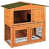 Home Discount Kaninchenstall aus Holz, 2Etagen, auch für Meerschweinchen, Tierkäfig mit Ausziehfächern