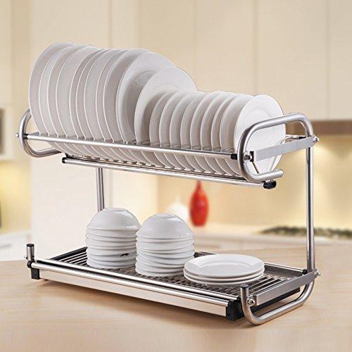 BOBE SHOP- Étagère multifonctionnelle de cuisine fixée au mur ou placée - doubles couches Étagère / étagère de drain d'acier inoxydable / support de plat / support de couteau / étagère de tasse / étagère d'épice