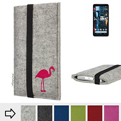 Handytasche COIMBRA mit Flamingo und Gummiband-Verschluss für Google Pixel 2 XL - Schutz Case Etui Filz Made in Germany in hellgrau schwarz pink - passgenaue Handy Hülle für Google Pixel 2 XL
