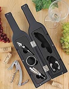 Shri&Sam Wine Bottle Gift Set Opener, Stopper Drip Ring, Foil Cutter and Pourer (Black)