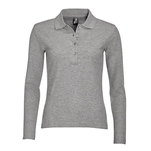 SOLS Podium Damen Pique Polo-Shirt, Langarm (Medium) (Grau meliert) (Pique Polo-shirt)