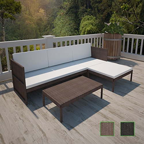 LD Poly Rattan Gartenmöbel Lounge Sitzgruppe Sitzgarnitur 3er Sofa Tisch Kissen