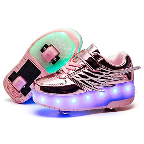 Unisex Niñas Niño LED USB Recargable Zapatillas con Ruedas Single Doble Ronda ala Neutra Automática...