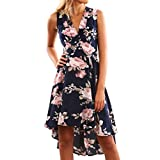 Sommerkleider, iHee Damen Mode Aus Schulter Unregelmäßiger Rock Print Kleid Blumen Kurzes Mini Kleid Beach Party Kleider (M, Dunkelblau)