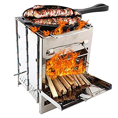 funnyfeng BBQ Grill, Edelstahl Grill Portable, Picknickgrill Outdoor, Tragbarer Klappgrill, Tischgrill Edelstahl, Holzkohle Grill Für BBQ Party Garten Camping Picknick
