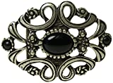 Fronhofer große Gürtelschnalle florales Muster, schwarzer Stein, Damen Buckle Schnalle Blumenmuster Silber, 4 cm, 18248, Farbe:Silber, Größe:One Size