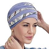 Turbante Shanti con bambú lila con estampado Kaleidoscope para mujeres con alopecia