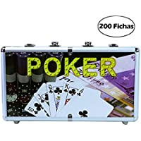 7Fuerte Maletin Estuche de Poker Game Set en Aluminio de 200 Fichas