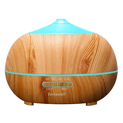 Tenswall Wood Grain Essential Oil Aroma Diffuser Whisper Quiet Cool Mist Ultrasonic Humidifier with 7 Color LED Lights Changing and 4 Timer Settings, Waterless Auto Shut-off - 400ml