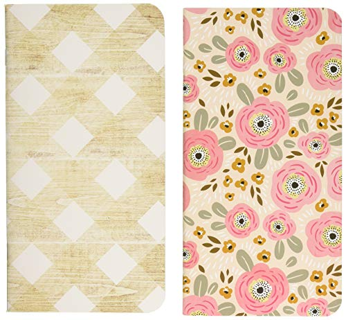 My Happy Place Traveler's Notebooks 4.25'X8.25' 2/Pkg-Flowers & Wood W/32 Sheets