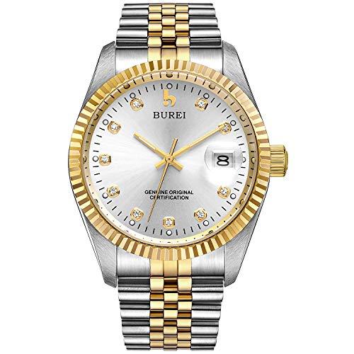 BUREI Herrenuhr mechanische Automatik Armbanduhr 24 Dial Analog Display Automatikuhr Lederband Edelstahlarmband Wasserdicht Stylish Armbanduhren (Silber-Gold)