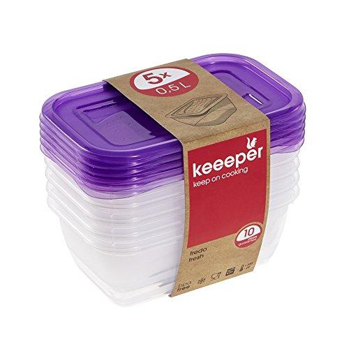 keeeper 3067251700000Fredo Fresh Set 5x Frischhaltedose Rectangular, plástico, Dark Plum, 15.5x 10.5x 11.5cm