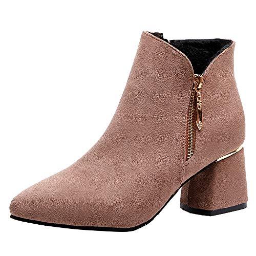 MYMYG Damen Chelsea Boots Frauen High Heel Schuhe Wildleder einfarbig Martain Stiefel wies Toe Zipper Schuhe Flache Freizeitschuhe Ankle Boots Wildleder warme Schnürschuhe