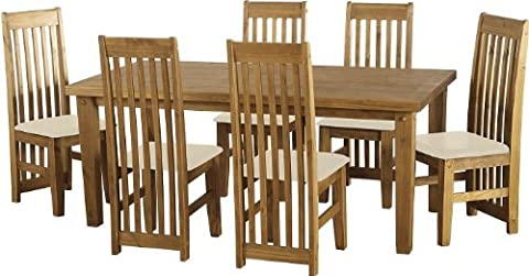 Tortilla 6' Dining Set in Distressed Waxed Pine (Cream Faux