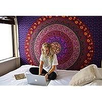 RAJRANG Psychedelic Tapestry Mandala, Wall Hanging, Tapiz Bohemio Indio, Tapices Hindu Casa Decorativo