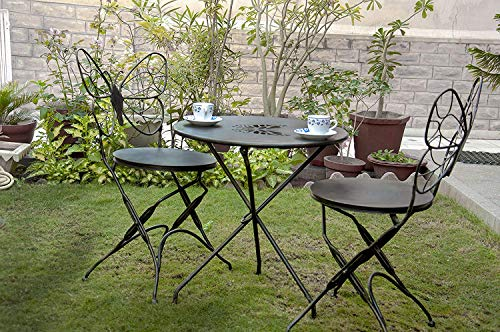 Mint Furnish Metal Folding Butterfly Shape Outdoor Garden Patio Chair & Table Set (Black)