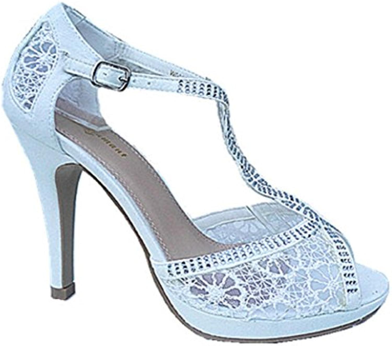 fashionfolie - Femme Escarpins Mariage Dentelle Strass Aiguille Talon Aiguille Strass DE 11 cm Stiletto À Bout Ouvert Plateforme...B079Y9VYS7Parent 947d73