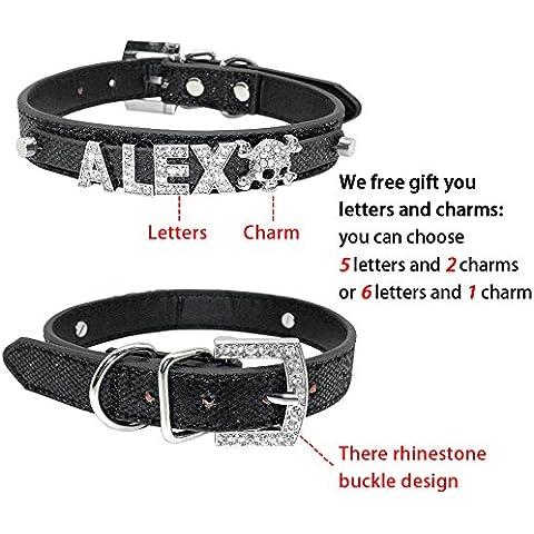 Vyset£¨TM) Bling Personalized Pet Dog Collar Rhinestone Customized Free Name Diamond Bucklet XS S M L