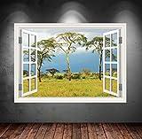Wand Smart Designs wsd27m Wild Dschungel Baum View Full Farbe Aufkleber Aufkleber Transfer Mural Graphic Art Wand, mehrfarbig