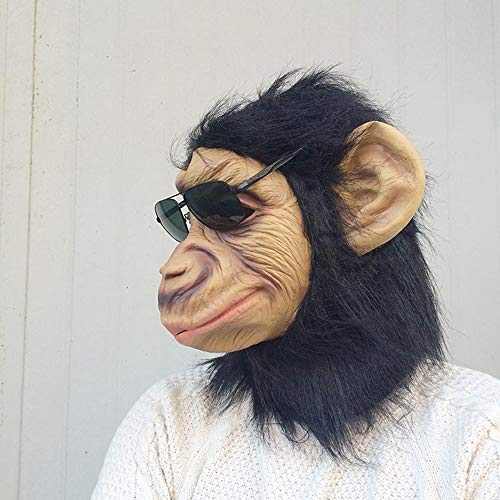 , Vajra Orang-Utan Affen Maske Tiermaske Affenkönig Lustige Kopfbedeckung Lustige Halloween Kostümparty Kinder Und Erwachsene ()