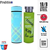 Frabble Combo Double Wall Vacuum Flask Insulated Thermos Travel Stainless Steel Water Bottle With Strainer BPA Free- 500 ML Capacity , Leak Proof Sipper , Hot And Cold Water Bottle For Upto 12 Hours.( Pack Of 2 , 500ml Each , Green - Sports And Blue- Live