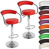MIADOMODO Barhocker 2er Set | in Rot | Retrolook | Barstuhl | Drehhocker | Lounge | Barsessel mit Fußablage, Armlehnen und Rückenlehne | drehbar und höhenverstellbar |