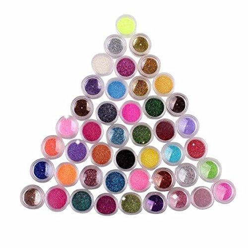 Sunenjoy Salon Chrome Poudres À Ongles Brillant Dust UV Gel Ongles Conseils Miroir Paillettes Manucure Art Design 45 Couleurs