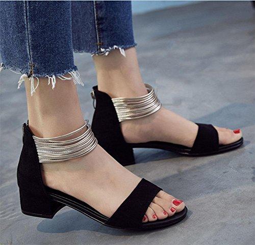 Maré A Palavra De Foi Magras Nacional Sapatos Selvagem Com Vento De Sandálias Mulheres Preto dx7PYTw