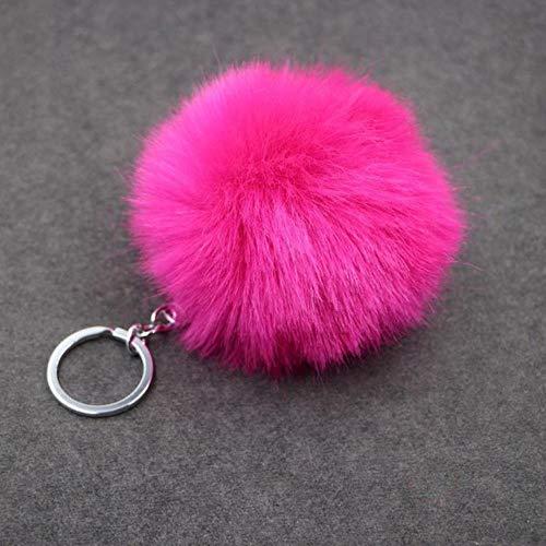 Kdyi Style Imitation Kaninchenhaar Ball Anhänger Tasche Schlüsselanhänger Farbe Gold Metallschnalle Schlüsselanhänger, 2 - Haar-clip, Zwei Pack
