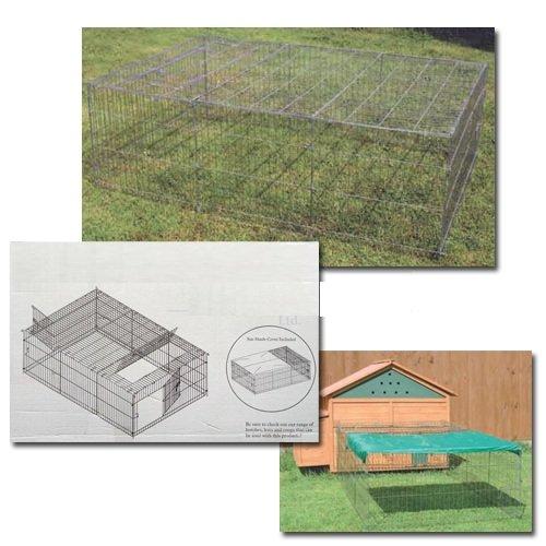SILVER ONLY, 72XXL Freilaufgehege Auslaufstall für Hasen, Kaninchen, Hühner, Enten inkl. Dach und 4 Türen