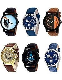 NIKOLA Treading 3D Design Mahadev Open Black Blue And Brown Color 6 Watch Combo (B22-B56-B17-B45-B23-B57) For...