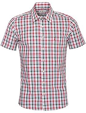 Almsach Kurzarm Trachtenhemd Hanno Slim Fit zweifarbig in Rot und Dunkelgrün inklusive Volksfestfinder