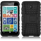 Lumia 630 Hülle, JAMMYLIZARD [ ALLIGATOR ] Doppelschutz Outdoor-Hülle für Nokia Lumia 630, SCHWARZ